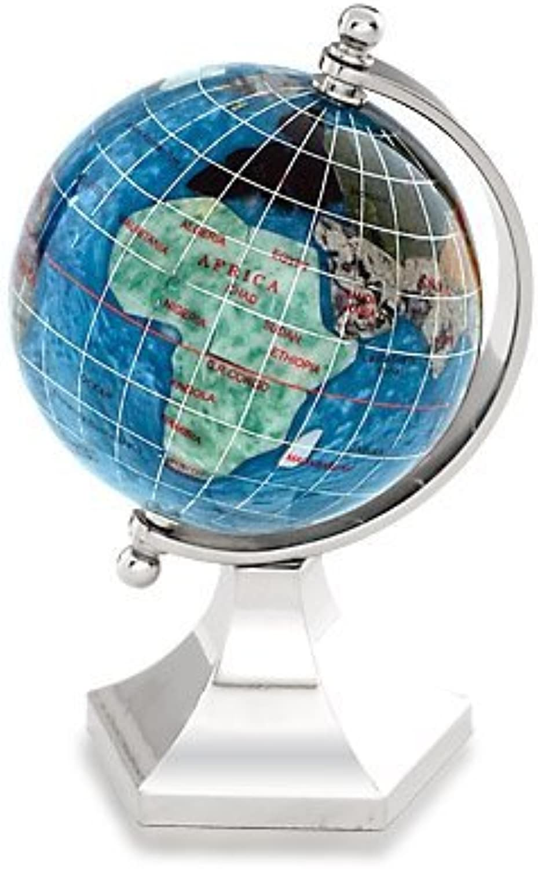 KALIFANO 3 Gemstone Globe with Marine Blau Opalite Ocean with Bright Silber Contempo Stand