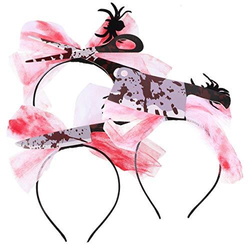 KESYOO 3 Pcs Tiaras de Horror de Halloween Realista Sangrento Cutelo Faca Tesoura Cabelo Aro Festa Cosplay Cocar Adereços de Fotos para Vestido de Festival (Vermelho Preto)