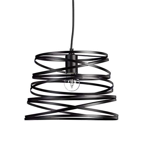 Relaxdays Lampe à suspension fils spirale design look moderne blanc ou noir lampe de plafond, noir