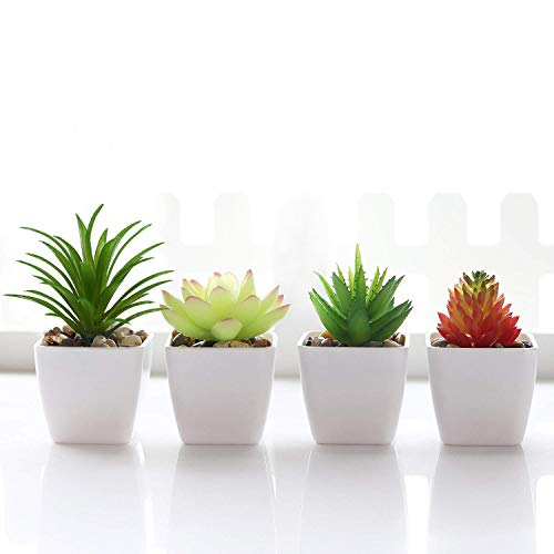 Veryhome Fake Succulent Plants Artificial Faux Succulents 4pcs Mini Potted Plastic Succulents for Home Office Room Decor