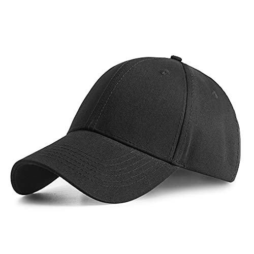 Ruyosn Gorra de béisbol Beisbol Hat Hombre Mujer Cap Gorra 100% algodón Unisex Baseball Cap Ajustable Caps Gorra De Visera Sport Hat-Negro