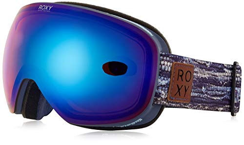 Roxy Damen Snowboard Goggles Popscreen, crown blue denim stripes, One Size, ERJTG03058
