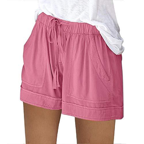 U/A Women Short Pants Summer Loose Rope Tie Short Sport Shorts Casual Elastic Waist Cotton Linen Shorts Pocket Pink