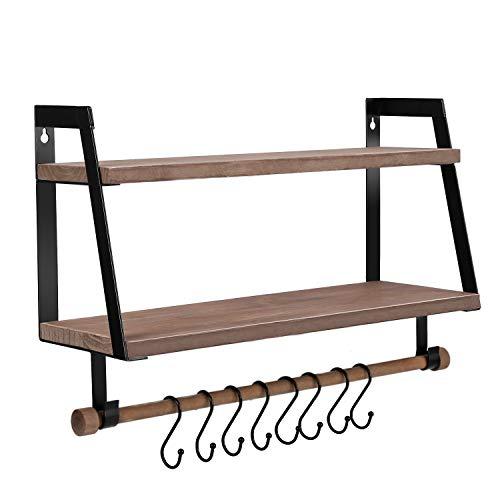 Halcent Schweberegale Gewürzregal Holz Wandregal Küche Duschregal Badregal Hängeregal für Küche Badezimmer Flur (Braun)