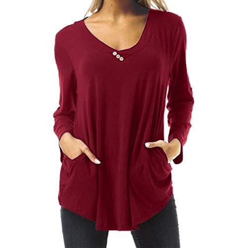 Feytuo Frauen Langarm Shirt,Oberteile Streifenbluse Neckholder Kurz Rüschen Baumwoll Rote Carmenblusen Shirt Hochgeschlossen elegant Karierte Oberteile