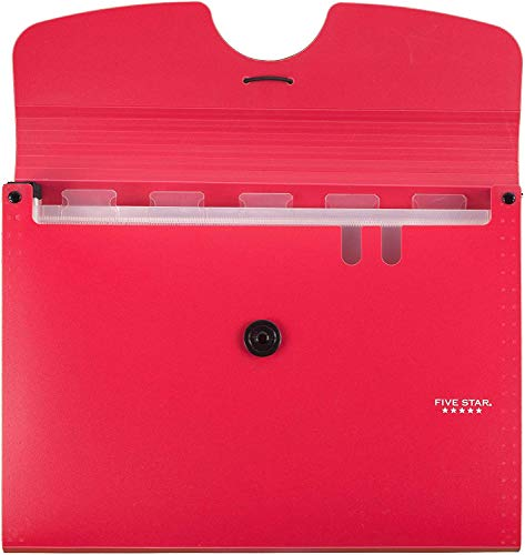 Five Star 6-Pocket Expanding File Organizer, Plastic Expandable Letter Size File Folders with Pockets, Home Office Supplies, Portable Paper Organizer for Receipts, Bills, Documents, Red New (72387) Photo #2