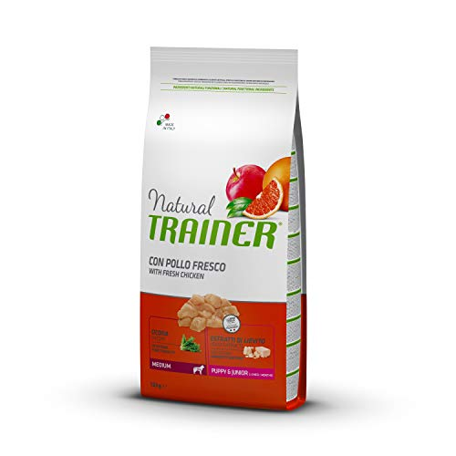 Natural Trainer - Cibo Secco per Cani Puppy & Junior Medium, Con Pollo Fresco, 12 kg