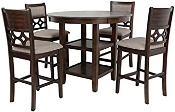 New Classic Furniture Mitchell 5-Piece Counter Set with 1 Table and 4 Chairs, Dark Cherry