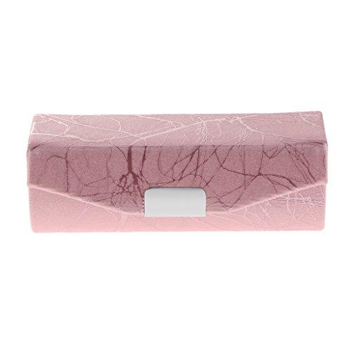 Baoblaze Coque Etui Trousse Gainé en Cuir PU à Rangement de Rouge à Lèvres/Boîtes à Bijoux avec Miroir - Facile à Transporter - 9x3x3.5 cm - Rose
