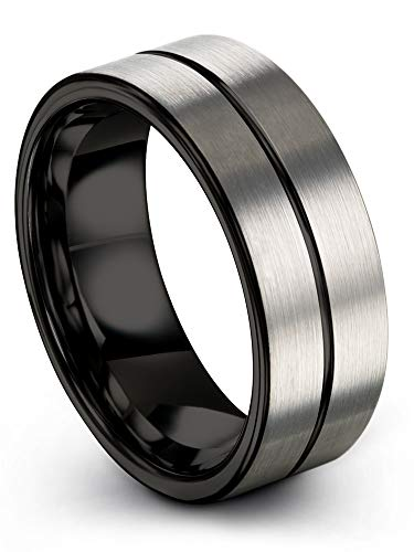 Chroma Color Collection Tungsten Carbide Wedding Band Ring 8mm for Men Women Black Center Line Black Interior with Grey Exterior Flat Cut Brushed Polished Comfort Fit Anniversary Size 14