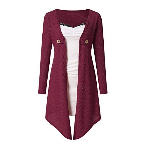 Janly Clearance Sale Vestidos para mujeres, mujeres otoño empalmado dos vestidos falsos con color y mangas largas, manga larga vestido impreso, para vacaciones boda Birhday Party, rojo, XL