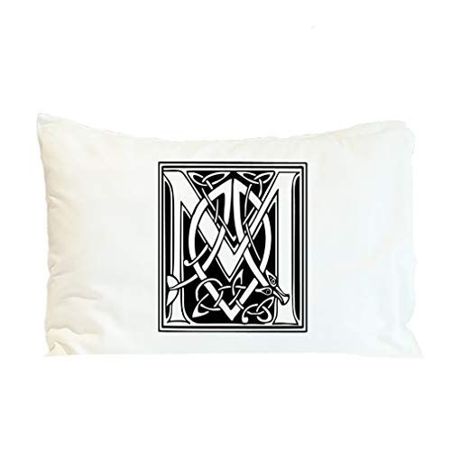 Style In Print Pillow Case M Irish Celtic Monogram Letter Alphabet & Monograms Polyester Home Decor Bed Pillow Covers Design Only 30x20 Inches