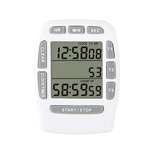 Jayron JR-KT001 Digital Timer Large LCD 3 Channel Digital Timer,Kitchen Timer,Count Down Up Timer Cooking Timer Reset Clock Alarm Loud Strong Magnet Bracket for Kids Elderly (white)