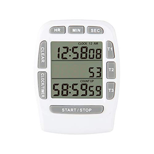 Jayron JR-KT001 Temporizador Digital LCD grande Temporizador Digital de 3 canales,Temporizador de Cocina,Temporizador de Cuenta Regresiva Reloj Despertador Soporte Magnético Fuerte