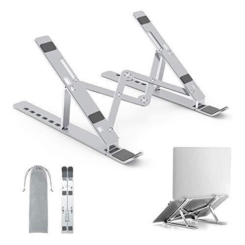 "Adjustable Laptop Stand,tebrigo Aluminum Portable Laptop Holder Computer Stand Tablet Stand,Ergonomic Foldable Desktop Holder Compatible with MacBook Air Pro, Dell XPS, HP, Lenovo More 10-15.6"""