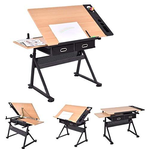 YIQIFEI Teakholztisch Zeichentischlampe Kippbarer Desktop Höhenverstellbare Bank und Schublade Lesekarton und Kunsthandwerk Werkbank (Ohne Hocker)