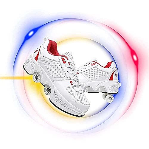 MENG Niños Invisible Poley Patines de 4 Ruedas Ajustable Quad Troller Skates Boots, Zapatillas para Caminar Automáticas para Niños Zapatillas Deportivas para Niños Niñas Niños Día de Cumpleaños Mejor