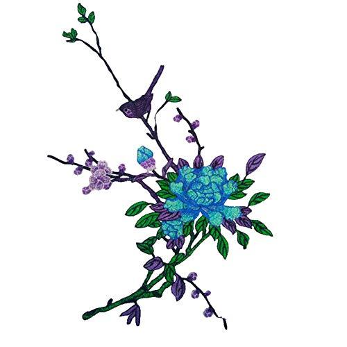 YuoungYuan Parches Ropa Grandes Parches Ropa Termoadhesivos Infantiles Recorte de Encaje de algodón para Coser Apliques de Flores Placas y Parches para Planchar Blue