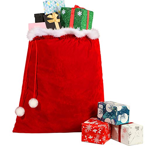 Bolsas de Dulces con Cordón de Papá Noel Bolsa Saco Grande de Papá Noel Navidad Saco de Regalo de Franela de Navidad para Juguetes Caramelo, Decoración Fiesta Navideña, 32 x 28 Pulgadas