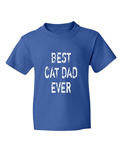 Marky G apparel Boys Best Cat Dad Ever T-Shirt Royal Blue XL