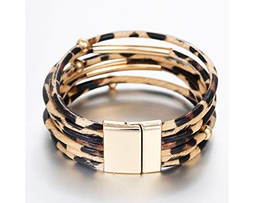 Fesciory Leopard Multi-Layer Wrap Leather Bracelet 3