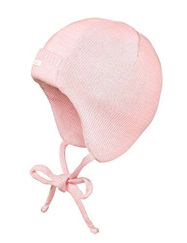 maximo Baby-Mädchen Babystrickmütze, ausgenäht, Bindeband Mütze, Rosa (zartrosa 30), 37 cm (Herstellergröße: 37)