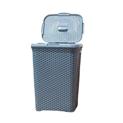 Papeleras Bote de Basura con Tapa, Papel de desecho Canasta de plástico Canasta de lavandería Canasta de Almacenamiento Baño Sala de Estar Papelera de Basura Cubos de Basura (Color : Light Cyan)