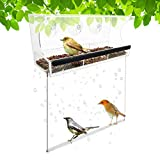 LANSCOERY Clear Acrylic Window Bird Feeder with Suction Cups, Sliding Seed Tray with Drainage Holes, High Seed Capacity for Outdoors Wild Birds, Finch, Cardinal and Bluebird