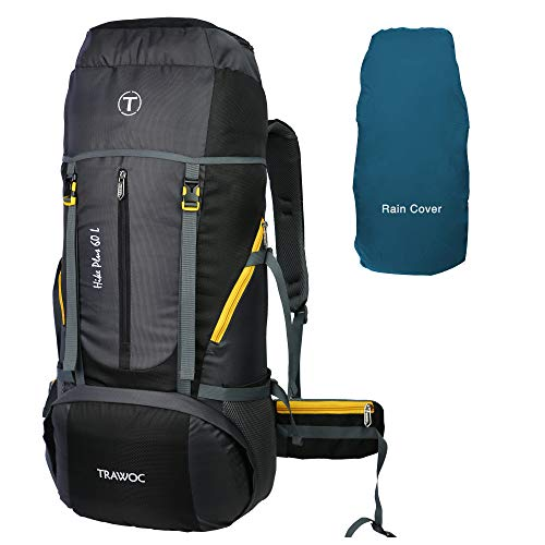 TRAWOC 60 Ltr Travel Bag Camping Rucksack Hiking Trekking Backpack with Water Proof Rain Cover / Shoe Compartment, 1 Year Warraty,...