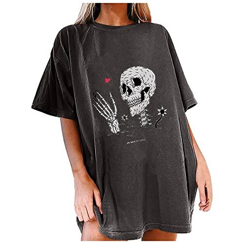 Camiseta de verano para mujer, tallas grandes, bordada, manga corta, ropa deportiva sexy, estampado, cuello redondo, diseño retro, con costuras de hilado, base de encaje gris S