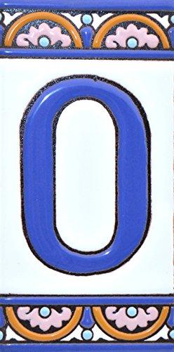 Letreros con numeros y letras en azulejo de ceramica policromada, pintados a mano en técnica cuerda seca para placas con nombres, direcciones y señaléctica. Texto personalizable. Diseño ARCO GRANDE 14,9 cm x 7,4 cm. (LETRA 'O')