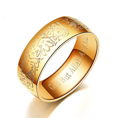 VIccoo Anillos de Moda, Anillos de Mensajero del Corán de Acero de Titanio Anillo de Dios árabe islámico religioso musulmán - Oro - 9