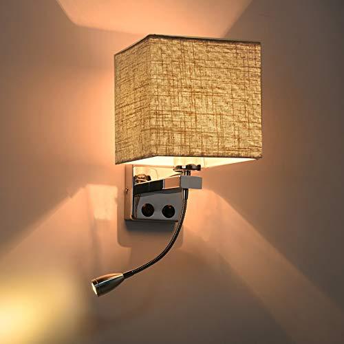 ZMLG Lámpara De Pared Interior Con Ajuste Flexible De 360° Lámpara De Lectura, Lámpara De Noche Cabecera Con Con Interruptor, Aplique De Pared Interior Para Dormitorio,Linen/single head