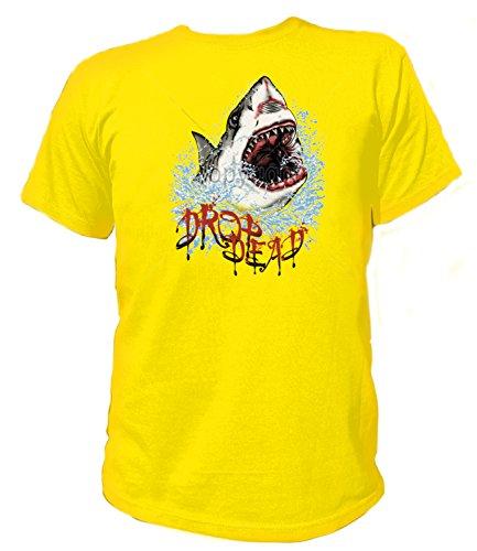Artdiktat Herren T-Shirt - Drop Dead Shark Größe XXXL, gelb