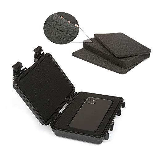 Caja de herramientas Caja de herramientas sellada impermeable a prueba de golpes Caja de herramientas hermética Instrumento Seco con llave con espuma previa, Negro, 158x122x46mm