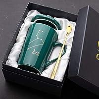 インクグリーン星座セラミックマグ恋人コーヒーマグクリエイティブパーソナリティビジネスギフトの水マグセット (Capacity : 420ml, Color : Leo)