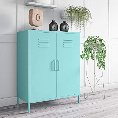 Novogratz Cache 2 Door Metal Locker Storage, Mint Cabinet