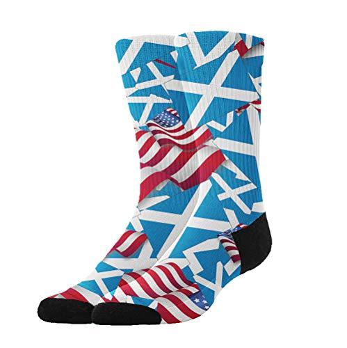 Jinkela - Calcetines Unisex, diseño de Bandera de Escocia con la Bandera de Estados Unidos