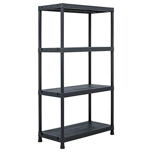 4 Tier Plastic Shelving Units for Storage, Multifunctional Racking Shelves Weatherproof Shed Storage - Lightweight, Compact & Easy to Build for Workshop, Shed, Office, 100KG Capacity,Black【UK STOCK】