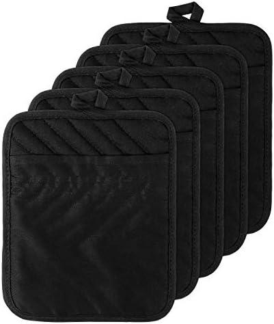 GROBRO7 5Pack Cotton Pocket Pot Holder Set Kitchen Heat Resistant Potholder Machine Washable product image