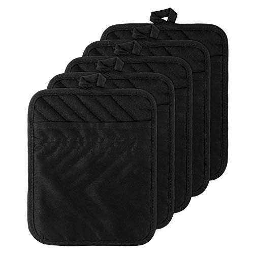 GROBRO7 5Pack Cotton Pocket Pot Holder Set Kitchen Heat Resistant Potholder Machine Washable Terry Cloth Potholders Bulk Oven Mitts Black Plain Hot Pads Trivet for Baking Cooking with Pocket 7x9