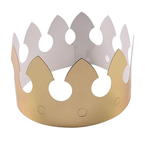 Beyond Dreams 12 Kronen aus Gold Papier Pappe für Ihren Geburtstag | Kinder Pappe | Kinderparty Party Hochzeit |Rollenspiel | 62 cm x 9 cm