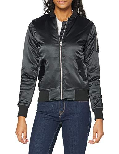 Urban Classics Ladies Satin Bomber Jacket Giacca, Nero (Black 7), XS Donna