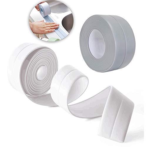 Schneespitze 2Pcs Selbstklebende Dichtband Wasserdicht,Fugendichtungsband Dichtband Selbstklebend Silikon Tape Reparaturband für Bad Dusche Waschbecken,3.2m x2.2cm