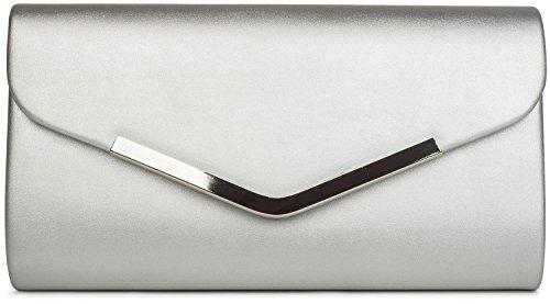 styleBREAKER Clutch Abendtasche im Envelope Kuvert Design mit Zierleiste aus Metall und Abnehmbarer Kette zum umhängen, Damen 02012131, Farbe:Silber