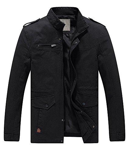 WenVen Herren Militär Jacke Stehkragen Übergangsjacke Klassisch Fracht Jacke Cargo Stiel Oberbekleidung Outdoor Jacke Lässige Mantel Schwarz M