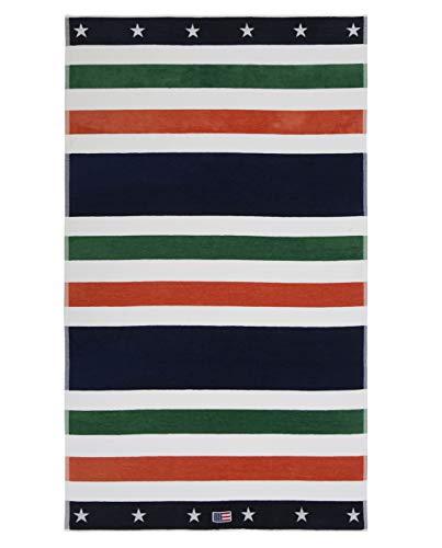 Lexington Toalla de Playa, Algodón, Verde/Blanc/Naranja/Azul, 180x100x0.2 cm
