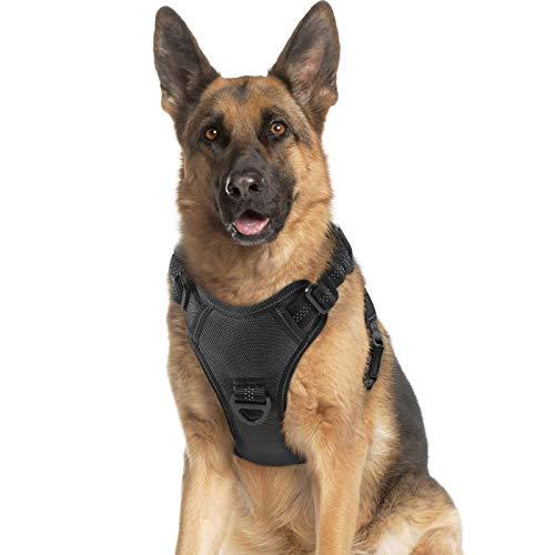 rabbitgoo Hundegeschirr, No Pull Dog Vest Harness mit Stoßdämpfenden Riemen, Verstellbares Hundegeschirr mit Easy Control Griff, Reflektierende Haustier Weste Geschirr für Große Mittlere Hunde, Schwarz