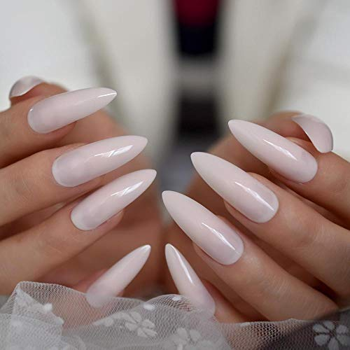 Wangguifu Hot Extra Long Amande Faux Ongles Rose Clair Brillant Couleur Unie Salon Party Nail Art Conseils Avec Étiquette Collante 24