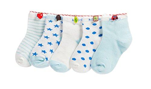 DEBAIJIA Baby Kinder Socken 5 in 1 Set Jugendliche Stricksocke Verdickender Herbst und Winter Jungen Mädchen Baumwolle Bunt Elastisch Weich- Gr.L (4-6 Jahre), Blau